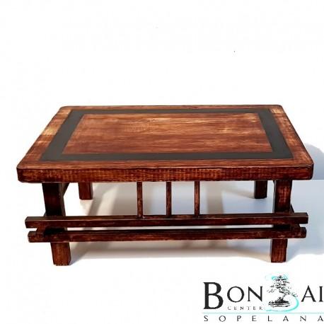 Mesa para bonsai de madera con barras-display