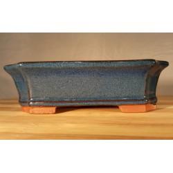 Maceta azul 15 cm rectangular esmaltada
